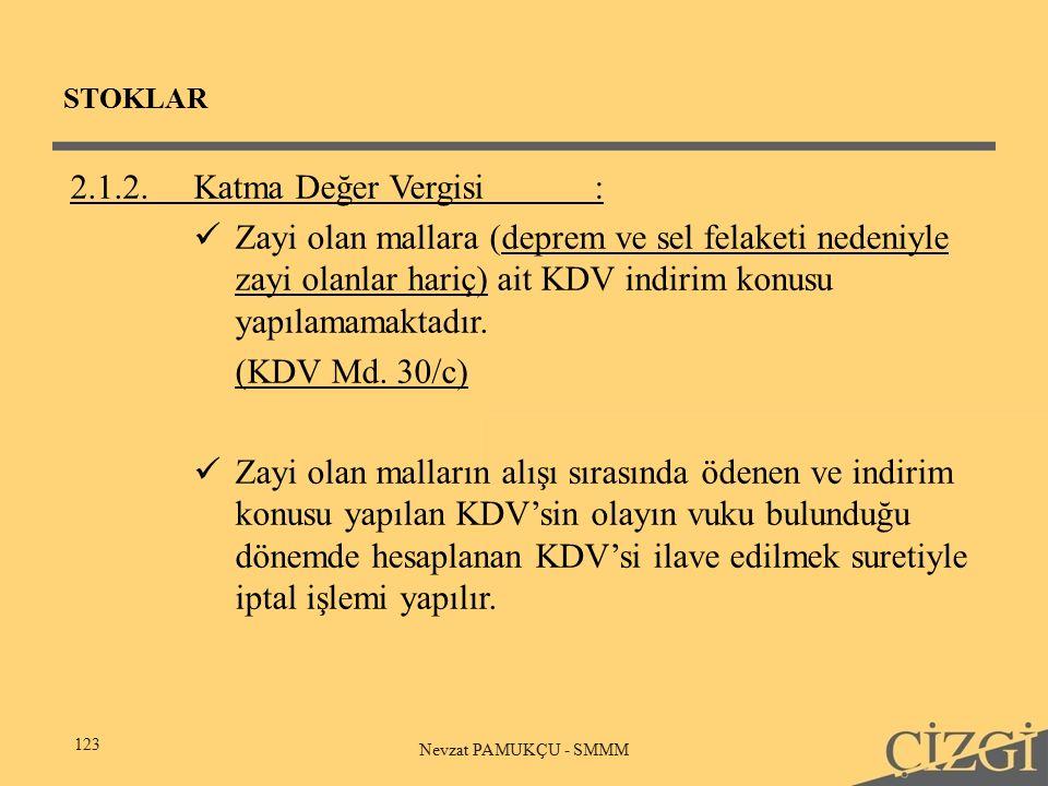 STOKLAR 123 Nevzat PAMUKÇU - SMMM 2.1.2.Katma Değer Vergisi: Zayi olan mallara (deprem ve sel felaketi nedeniyle zayi olanlar hariç) ait KDV indirim konusu yapılamamaktadır.