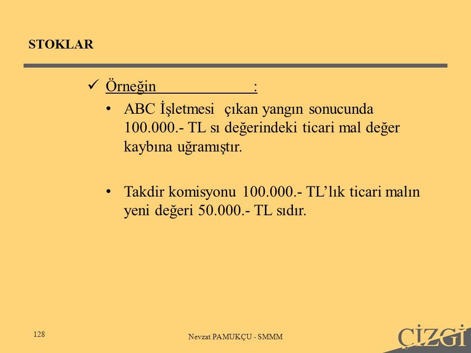 STOKLAR 128 Nevzat PAMUKÇU - SMMM Örneğin: ABC İşletmesi çıkan yangın sonucunda 100.000.- TL sı değerindeki ticari mal değer kaybına uğramıştır.