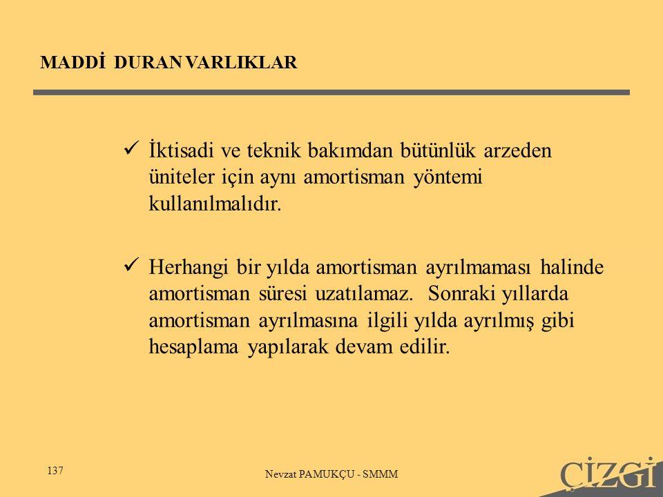 MADDİ DURAN VARLIKLAR 137 Nevzat PAMUKÇU - SMMM İktisadi ve teknik bakımdan bütünlük arzeden üniteler için aynı amortisman yöntemi kullanılmalıdır.