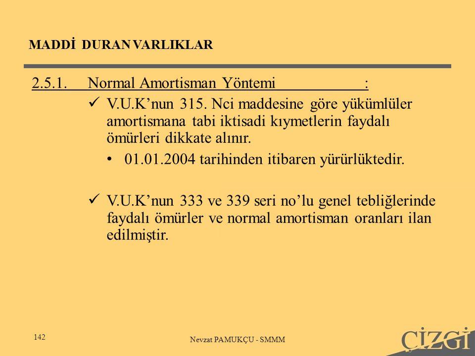 MADDİ DURAN VARLIKLAR 142 Nevzat PAMUKÇU - SMMM 2.5.1.Normal Amortisman Yöntemi: V.U.K'nun 315.