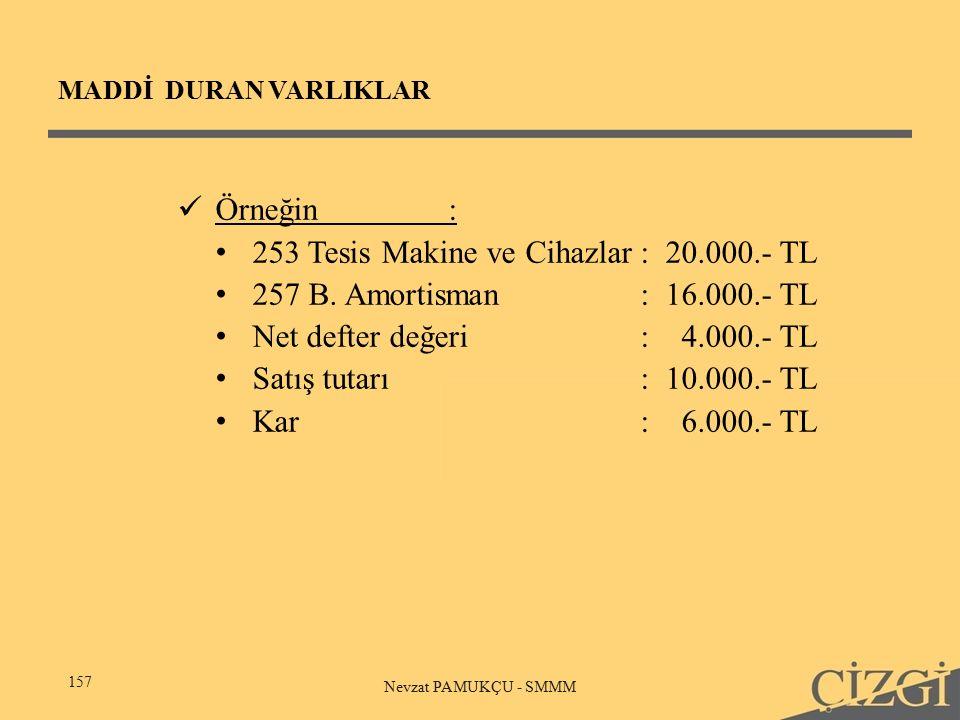 MADDİ DURAN VARLIKLAR 157 Nevzat PAMUKÇU - SMMM Örneğin: 253 Tesis Makine ve Cihazlar: 20.000.- TL 257 B.