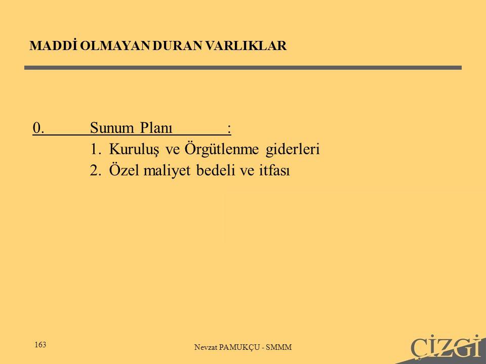 MADDİ OLMAYAN DURAN VARLIKLAR 163 Nevzat PAMUKÇU - SMMM 0.Sunum Planı: 1.Kuruluş ve Örgütlenme giderleri 2.Özel maliyet bedeli ve itfası