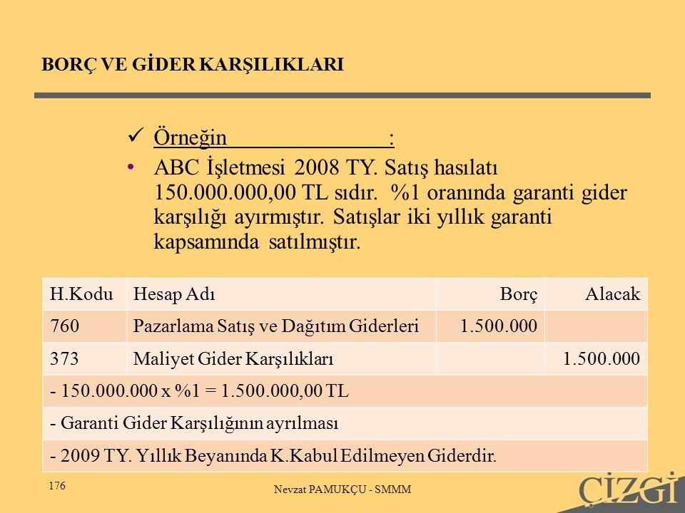 BORÇ VE GİDER KARŞILIKLARI 176 Nevzat PAMUKÇU - SMMM Örneğin: ABC İşletmesi 2008 TY.