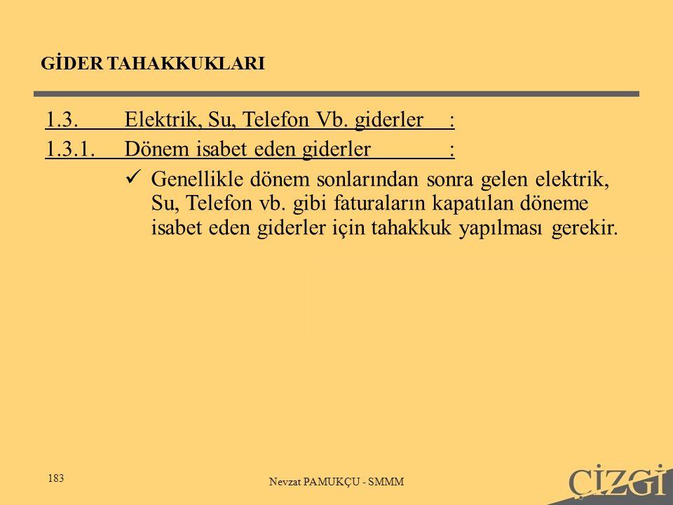 GİDER TAHAKKUKLARI 183 Nevzat PAMUKÇU - SMMM 1.3.Elektrik, Su, Telefon Vb.