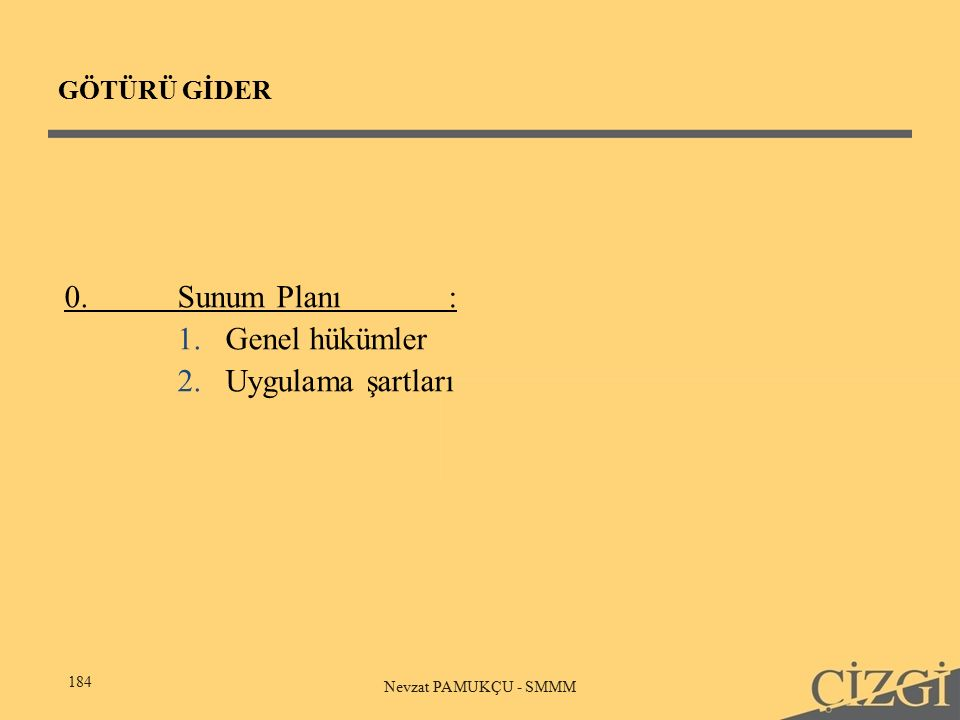 GÖTÜRÜ GİDER 184 Nevzat PAMUKÇU - SMMM 0.Sunum Planı: 1.Genel hükümler 2.Uygulama şartları