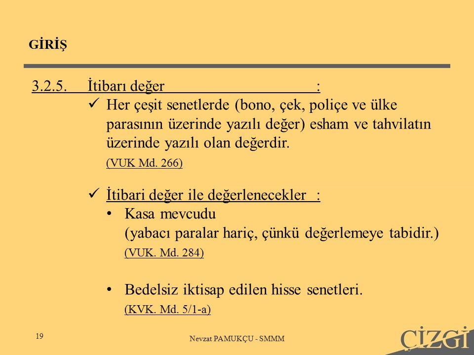 GİRİŞ 19 Nevzat PAMUKÇU - SMMM 3.2.5.İtibarı değer: Her çeşit senetlerde (bono, çek, poliçe ve ülke parasının üzerinde yazılı değer) esham ve tahvilatın üzerinde yazılı olan değerdir.