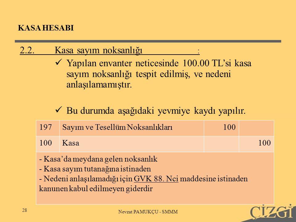 KASA HESABI 28 Nevzat PAMUKÇU - SMMM 2.2.Kasa sayım noksanlığı : Yapılan envanter neticesinde 100.00 TL'si kasa sayım noksanlığı tespit edilmiş, ve nedeni anlaşılamamıştır.
