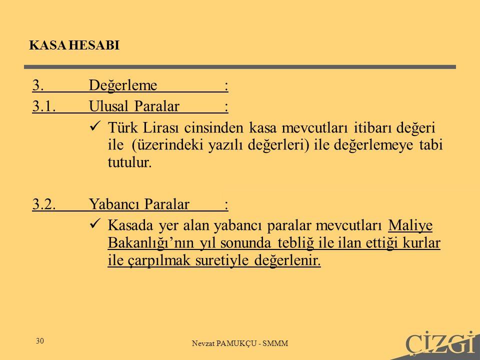 KASA HESABI 30 Nevzat PAMUKÇU - SMMM 3.Değerleme: 3.1.Ulusal Paralar: Türk Lirası cinsinden kasa mevcutları itibarı değeri ile (üzerindeki yazılı değerleri) ile değerlemeye tabi tutulur.