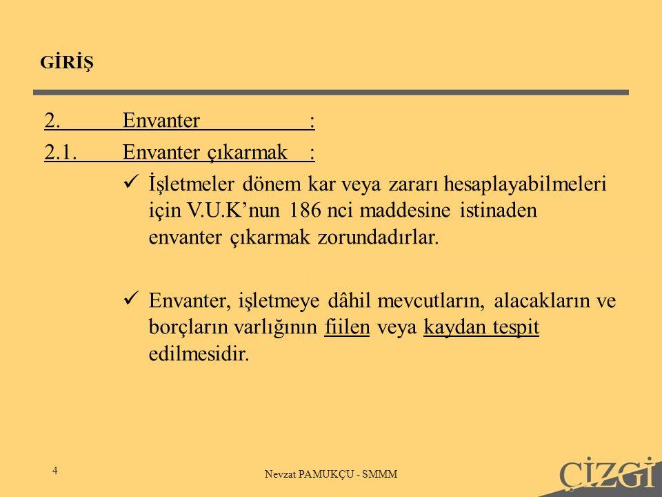 GİRİŞ 4 Nevzat PAMUKÇU - SMMM 2.Envanter: 2.1.Envanter çıkarmak: İşletmeler dönem kar veya zararı hesaplayabilmeleri için V.U.K'nun 186 nci maddesine istinaden envanter çıkarmak zorundadırlar.