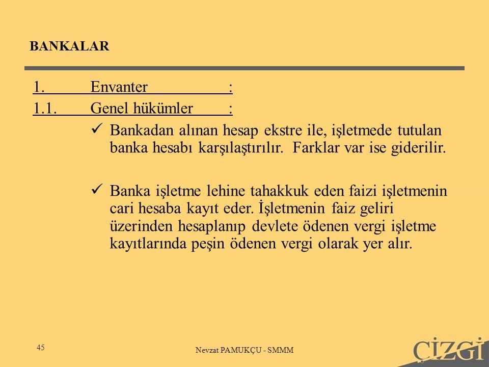 BANKALAR 45 Nevzat PAMUKÇU - SMMM 1.Envanter: 1.1.Genel hükümler: Bankadan alınan hesap ekstre ile, işletmede tutulan banka hesabı karşılaştırılır.