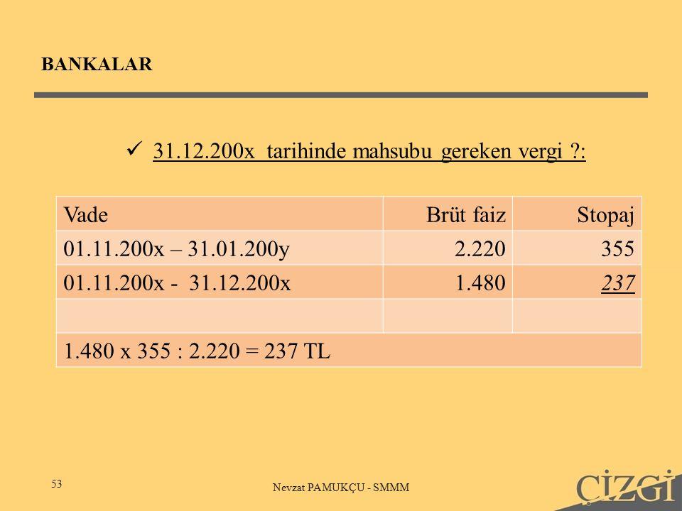 BANKALAR 53 Nevzat PAMUKÇU - SMMM 31.12.200x tarihinde mahsubu gereken vergi ?: VadeBrüt faizStopaj 01.11.200x – 31.01.200y2.220355 01.11.200x - 31.12.200x1.480237 1.480 x 355 : 2.220 = 237 TL