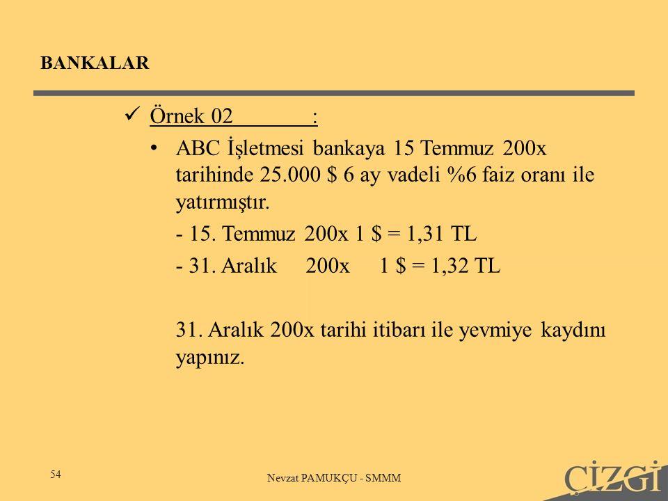 BANKALAR 54 Nevzat PAMUKÇU - SMMM Örnek 02: ABC İşletmesi bankaya 15 Temmuz 200x tarihinde 25.000 $ 6 ay vadeli %6 faiz oranı ile yatırmıştır.