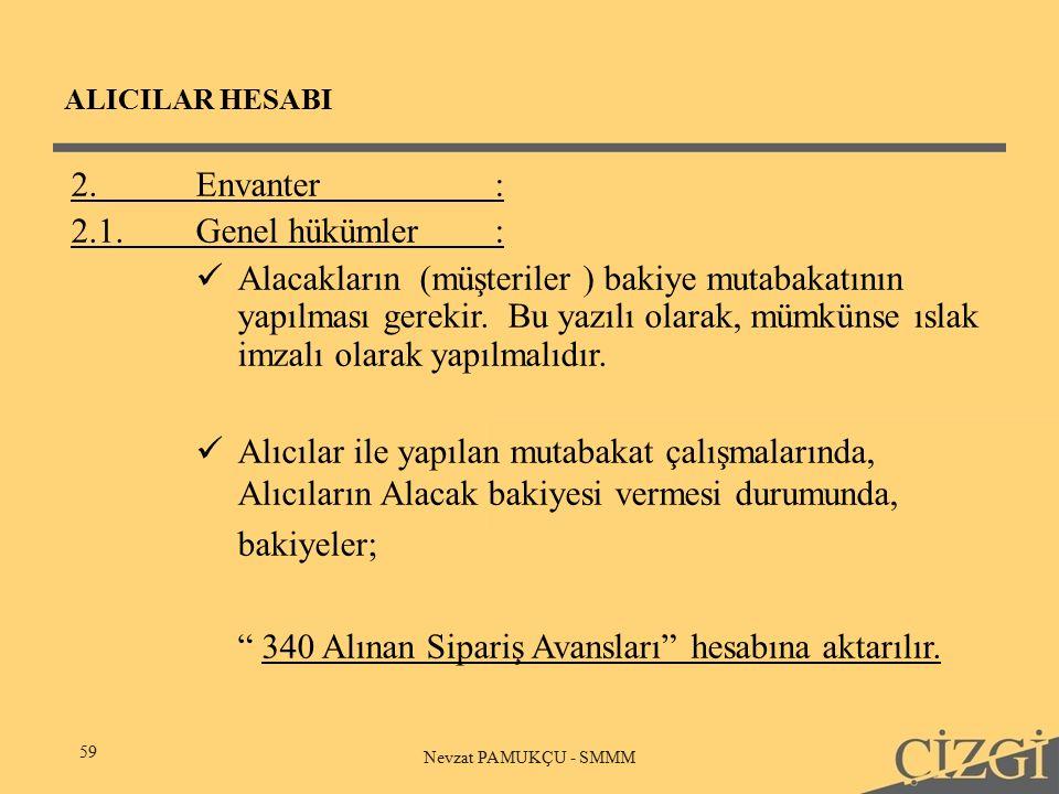 ALICILAR HESABI 59 Nevzat PAMUKÇU - SMMM 2.Envanter: 2.1.Genel hükümler: Alacakların (müşteriler ) bakiye mutabakatının yapılması gerekir.