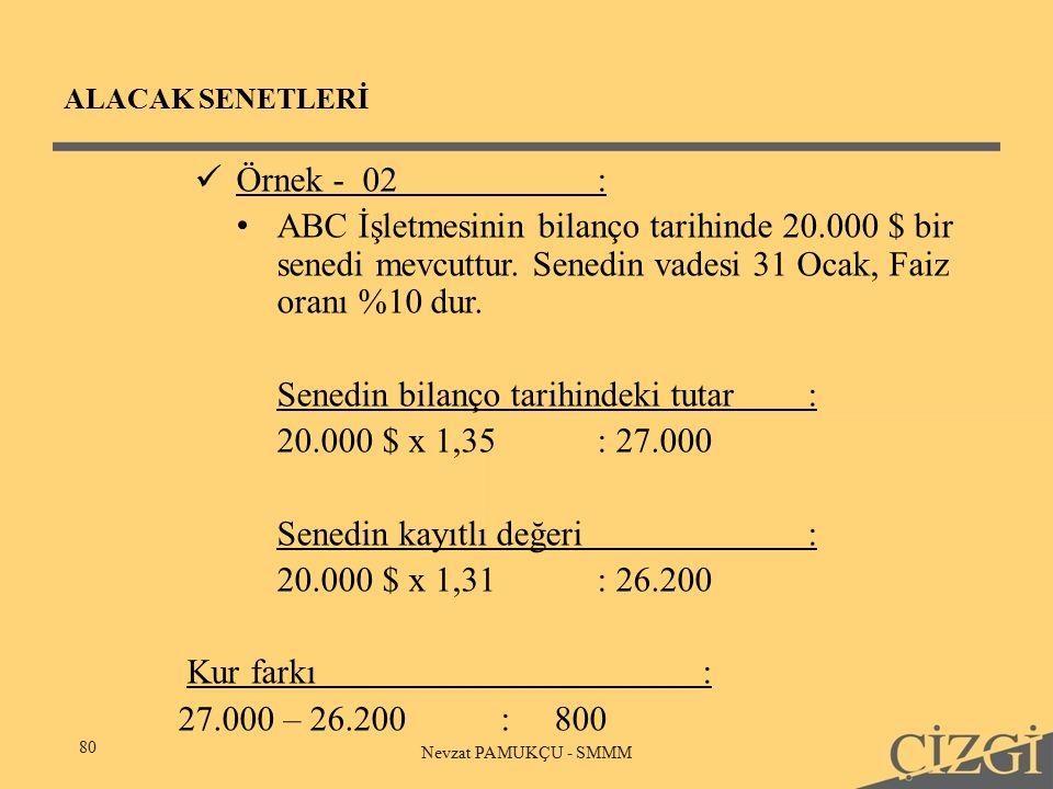 ALACAK SENETLERİ 80 Nevzat PAMUKÇU - SMMM Örnek - 02: ABC İşletmesinin bilanço tarihinde 20.000 $ bir senedi mevcuttur.