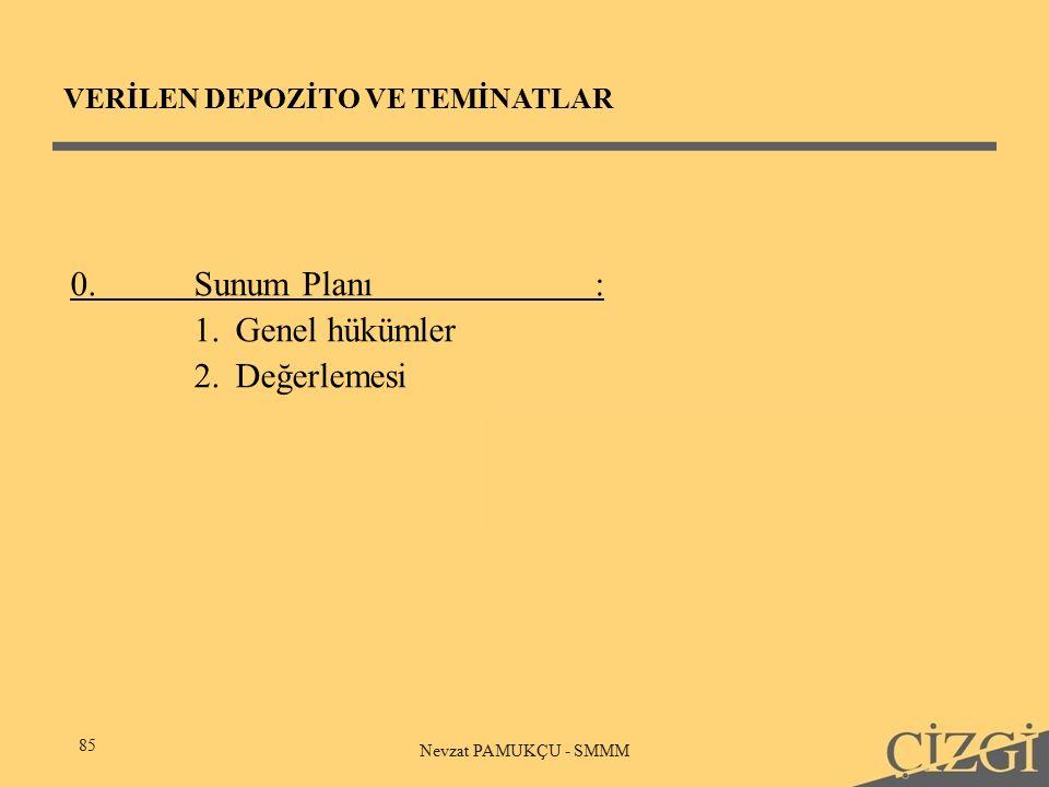 VERİLEN DEPOZİTO VE TEMİNATLAR 85 Nevzat PAMUKÇU - SMMM 0.Sunum Planı: 1.Genel hükümler 2.Değerlemesi