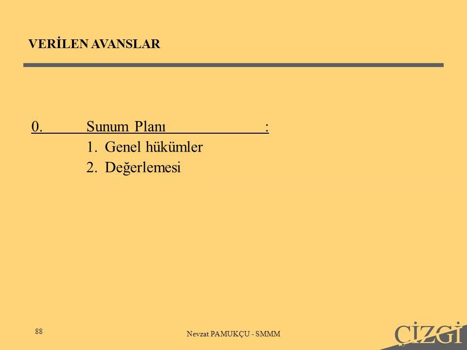 VERİLEN AVANSLAR 88 Nevzat PAMUKÇU - SMMM 0.Sunum Planı: 1.Genel hükümler 2.Değerlemesi