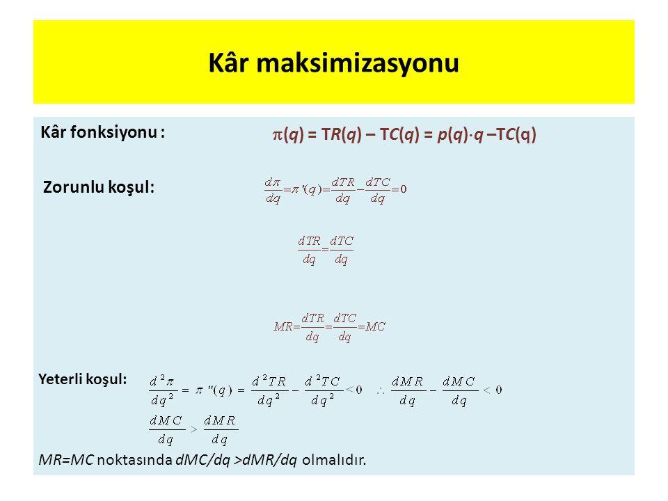 Kâr maksimizasyonu Kâr fonksiyonu :  (q) = TR(q) – TC(q) = p(q)  q –TC(q) Zorunlu koşul: Yeterli koşul: MR=MC noktasında dMC/dq >dMR/dq olmalıdır.