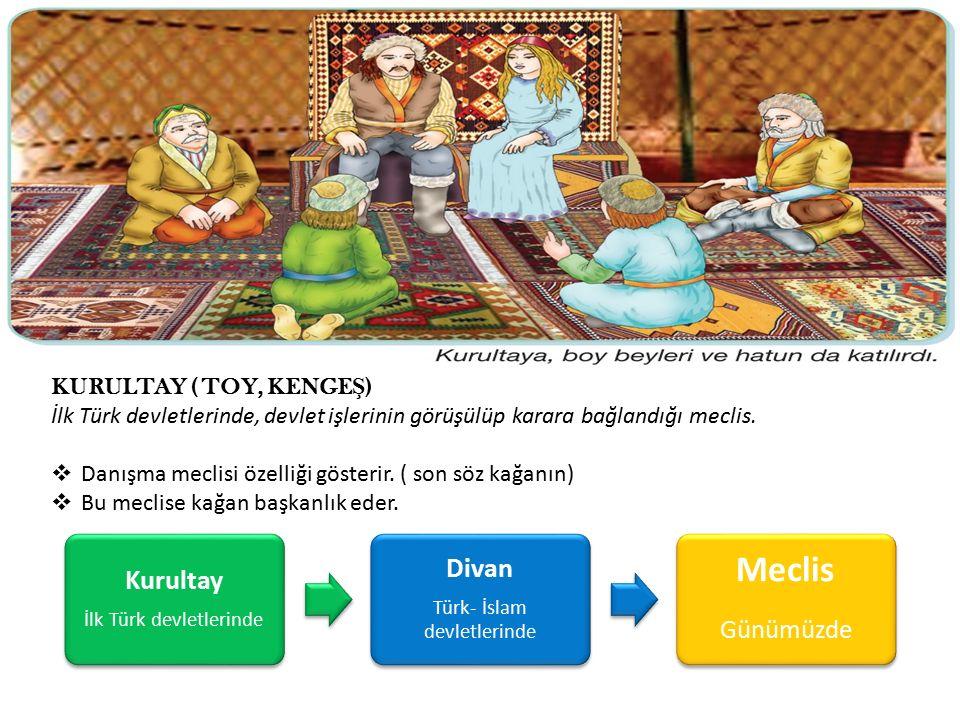 KURULTAY ( TOY, KENGE Ş ) İlk Türk devletlerinde, devlet işlerinin görüşülüp karara bağlandığı meclis.