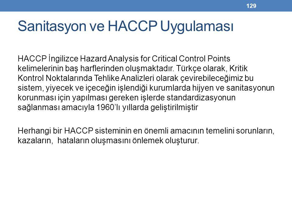 129 Sanitasyon ve HACCP Uygulaması HACCP İngilizce Hazard Analysis for Critical Control Points kelimelerinin baş harflerinden oluşmaktadır. Türkçe ola
