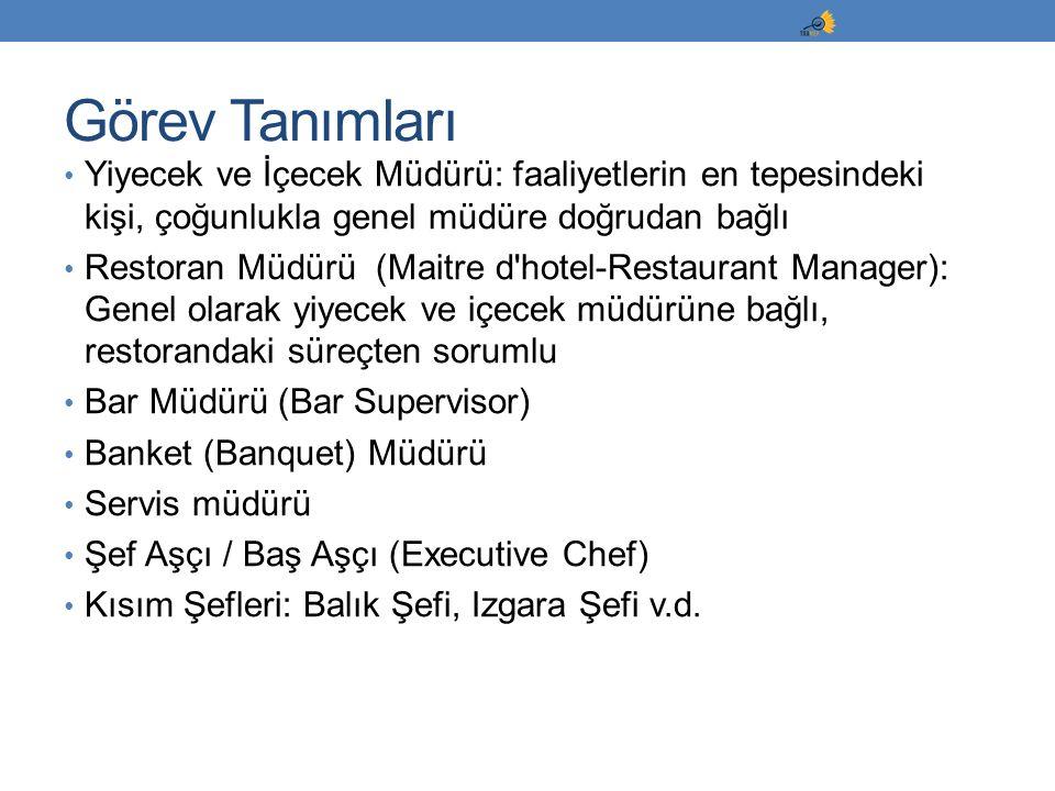 Yiyecek ve İçecek Müdürü: faaliyetlerin en tepesindeki kişi, çoğunlukla genel müdüre doğrudan bağlı Restoran Müdürü (Maitre d'hotel-Restaurant Manager