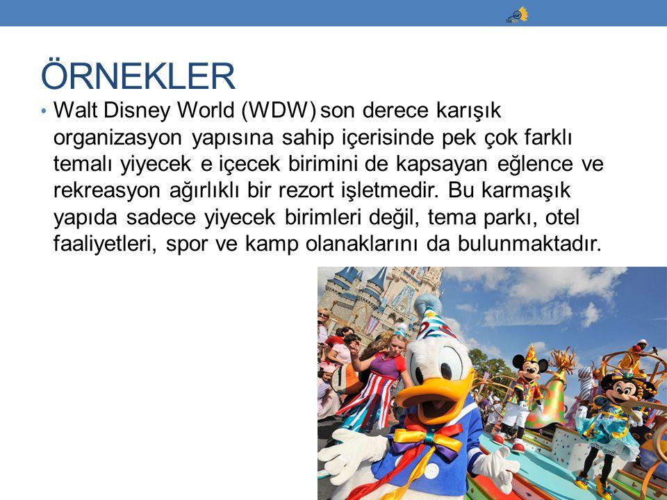Walt Disney World (WDW) son derece karışık organizasyon yapısına sahip içerisinde pek çok farklı temalı yiyecek e içecek birimini de kapsayan eğlence