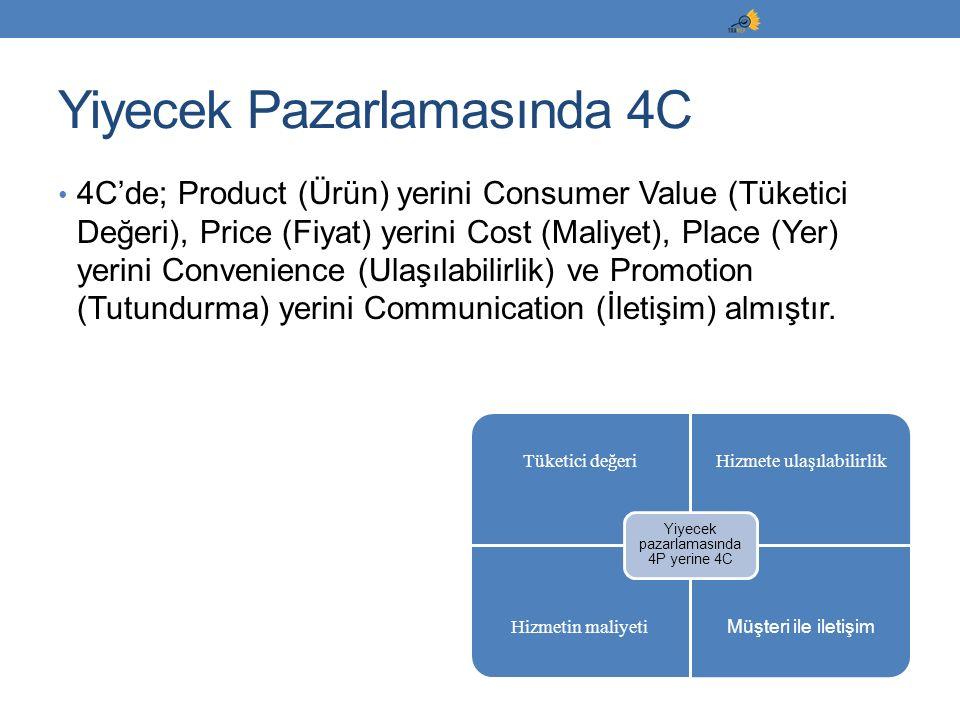 4C'de; Product (Ürün) yerini Consumer Value (Tüketici Değeri), Price (Fiyat) yerini Cost (Maliyet), Place (Yer) yerini Convenience (Ulaşılabilirlik) v