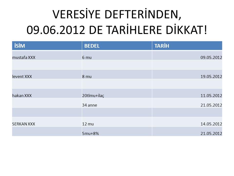 VERESİYE DEFTERİNDEN, 09.06.2012 DE TARİHLERE DİKKAT.