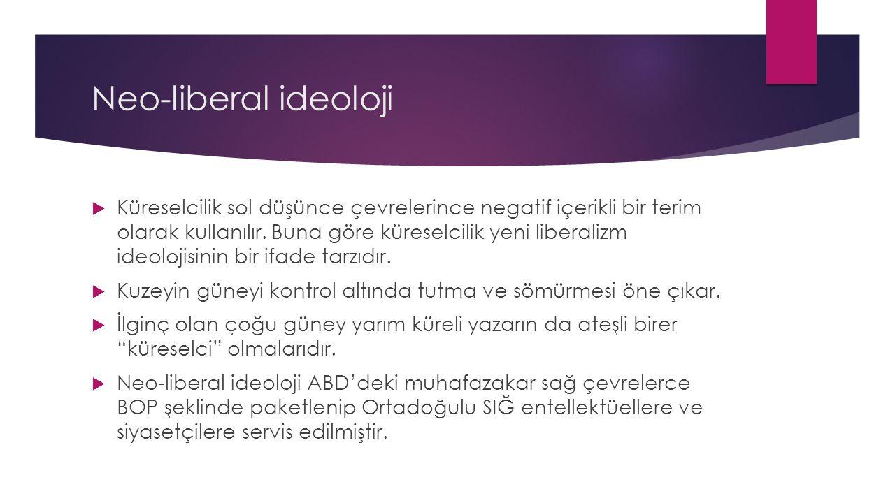 Neo-liberal ideoloji  Küreselcilik sol düşünce çevrelerince negatif içerikli bir terim olarak kullanılır.