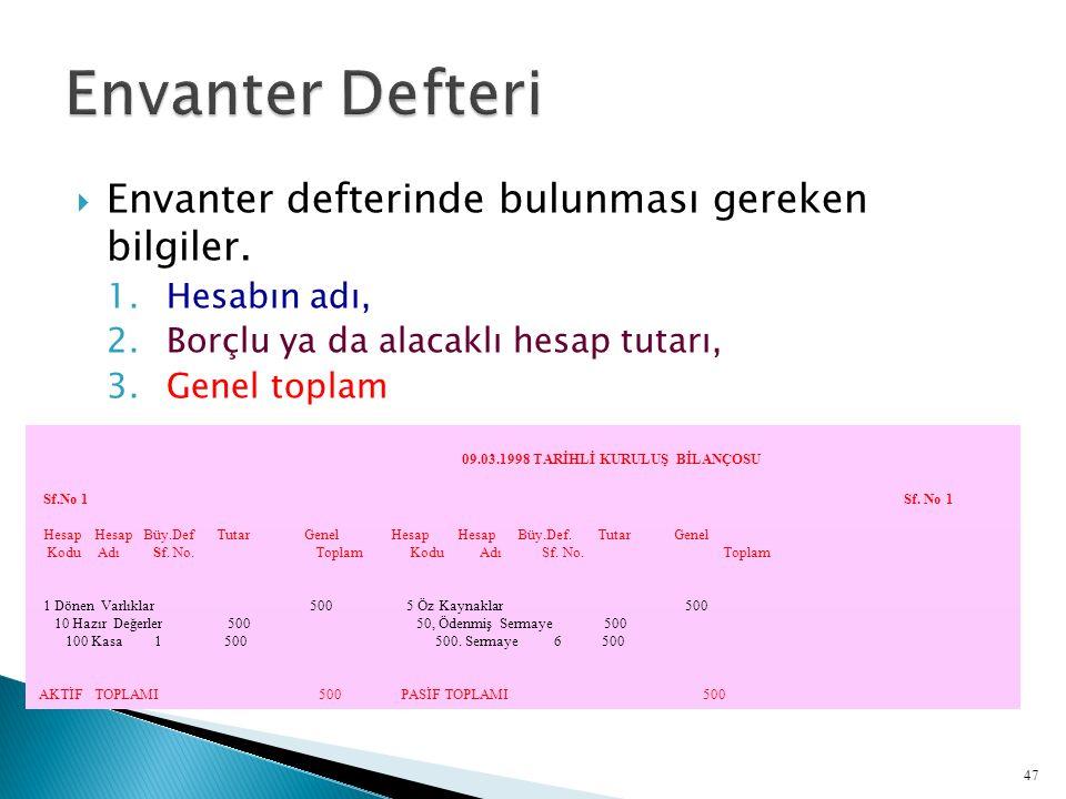  Envanter defterinde bulunması gereken bilgiler. 1.Hesabın adı, 2.Borçlu ya da alacaklı hesap tutarı, 3.Genel toplam 09.03.1998 TARİHLİ KURULUŞ BİLAN