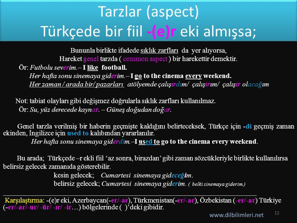 Tarzlar (aspect) Türkçede bir fiil -(e)r eki almışsa; Bununla birlikte ifadede sıklık zarfları da yer alıyorsa, Hareket genel tarzda ( common aspect ) bir harekettir demektir.