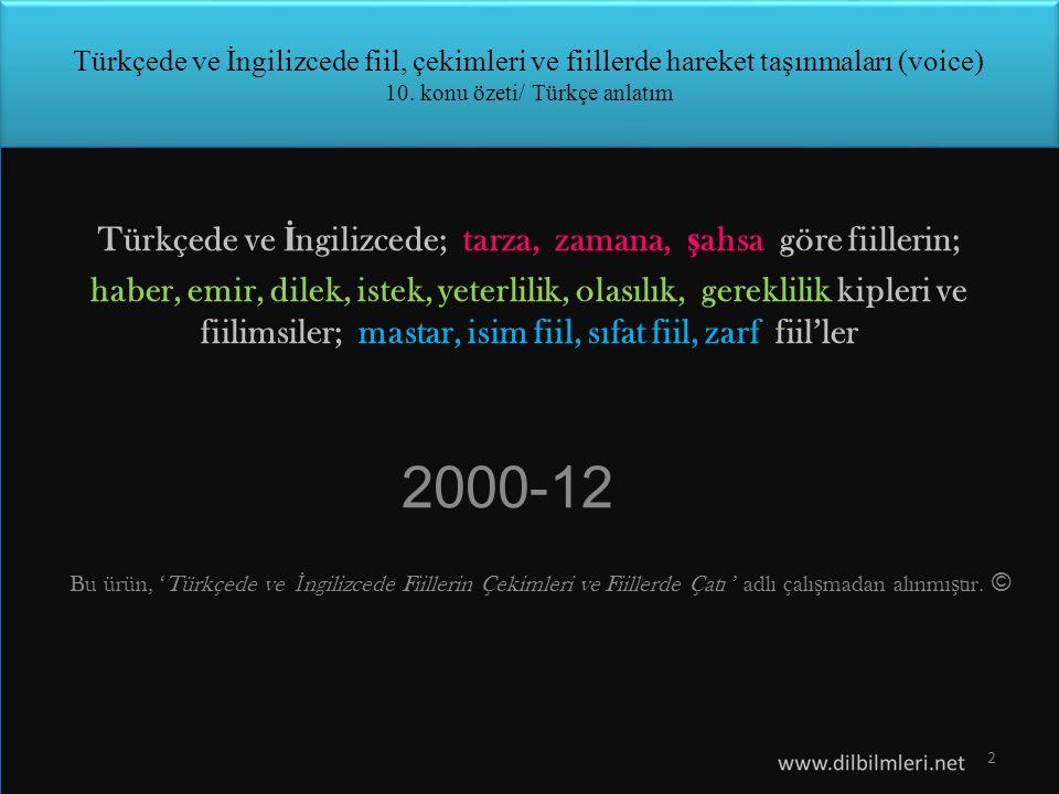 Türkçede ve İngilizcede fiil, çekimleri ve fiillerde hareket taşınmaları (voice) 10.