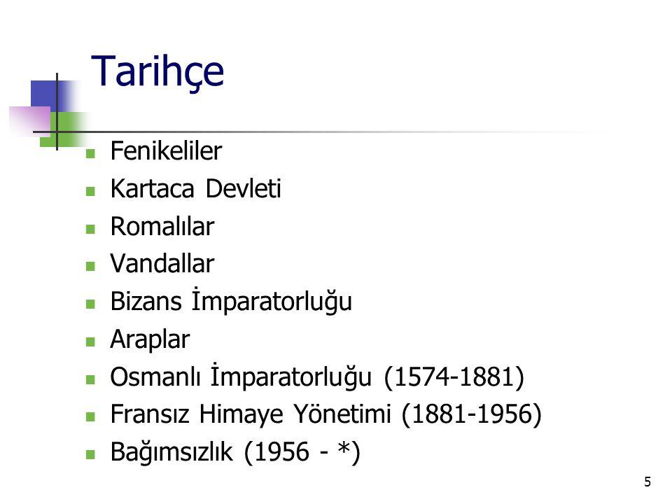 5 Tarihçe Fenikeliler Kartaca Devleti Romalılar Vandallar Bizans İmparatorluğu Araplar Osmanlı İmparatorluğu (1574-1881) Fransız Himaye Yönetimi (1881-1956) Bağımsızlık (1956 - *)