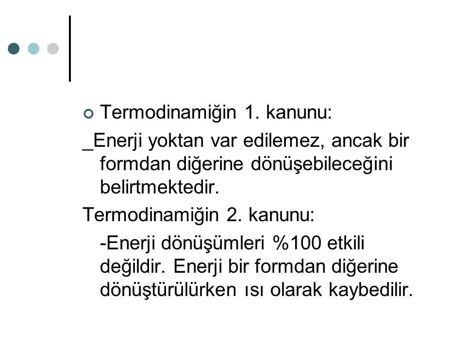 Termodinamiğin 1. kanunu: _Enerji yoktan var edilemez, ancak bir formdan diğerine dönüşebileceğini belirtmektedir. Termodinamiğin 2. kanunu: -Enerji d
