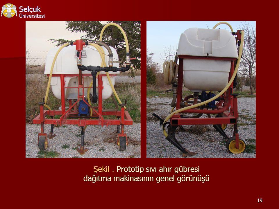 19 Şekil. Prototip sıvı ahır gübresi dağıtma makinasının genel görünüşü