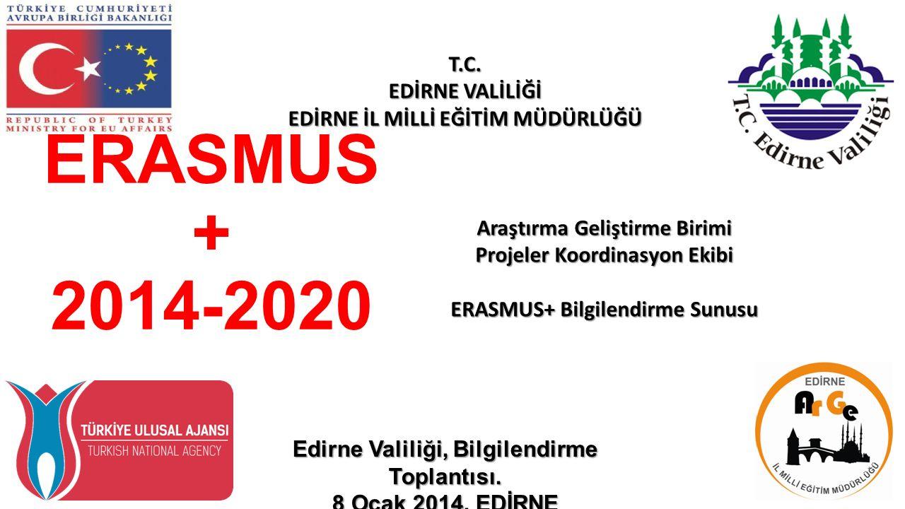 ERASMUS + 2014-2020 Araştırma Geliştirme Birimi Projeler Koordinasyon Ekibi ERASMUS+ Bilgilendirme Sunusu T.C.