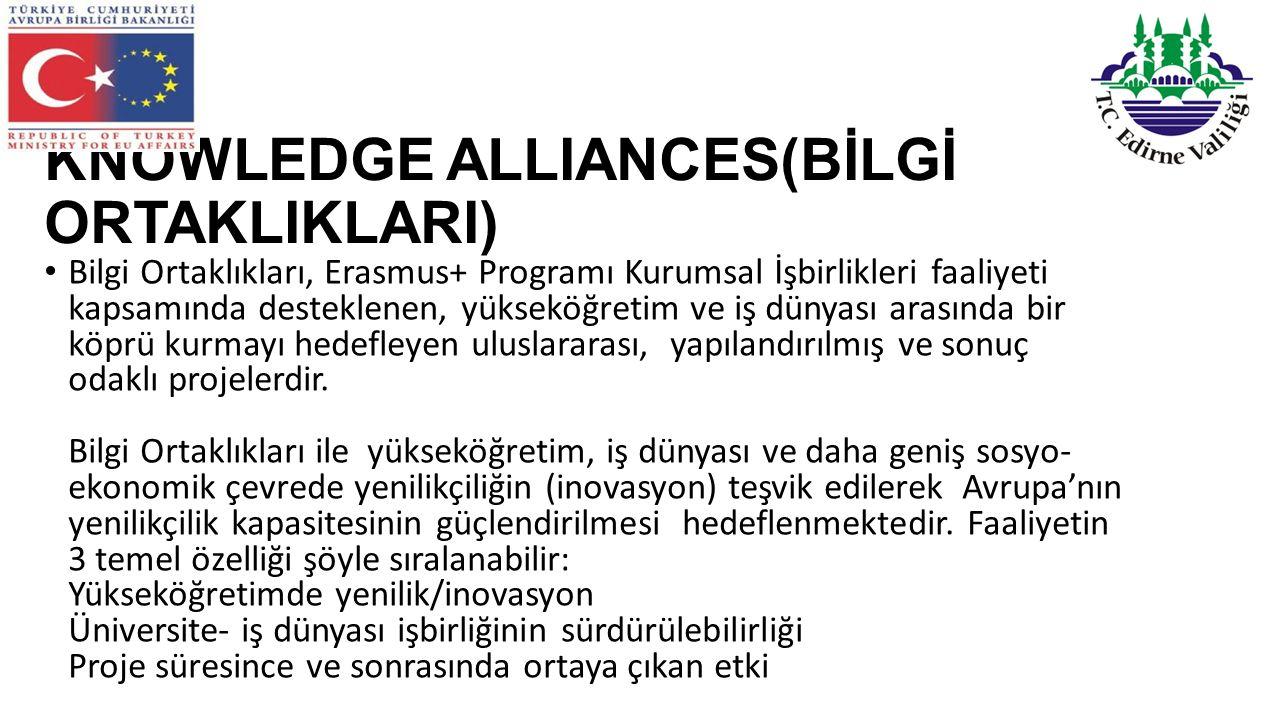 KNOWLEDGE ALLIANCES(BİLGİ ORTAKLIKLARI) Bilgi Ortaklıkları, Erasmus+ Programı Kurumsal İşbirlikleri faaliyeti kapsamında desteklenen, yükseköğretim ve iş dünyası arasında bir köprü kurmayı hedefleyen uluslararası, yapılandırılmış ve sonuç odaklı projelerdir.