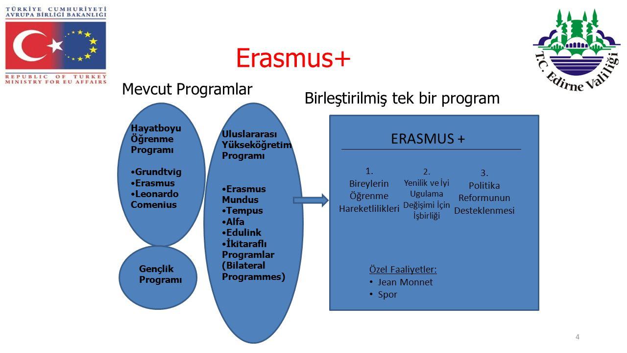 Erasmus+ 4 Hayatboyu Öğrenme Programı Grundtvig Erasmus Leonardo Comenius Gençlik Programı Uluslararası Yükseköğretim Programı Erasmus Mundus Tempus Alfa Edulink İkitaraflı Programlar (Bilateral Programmes) ERASMUS + 1.