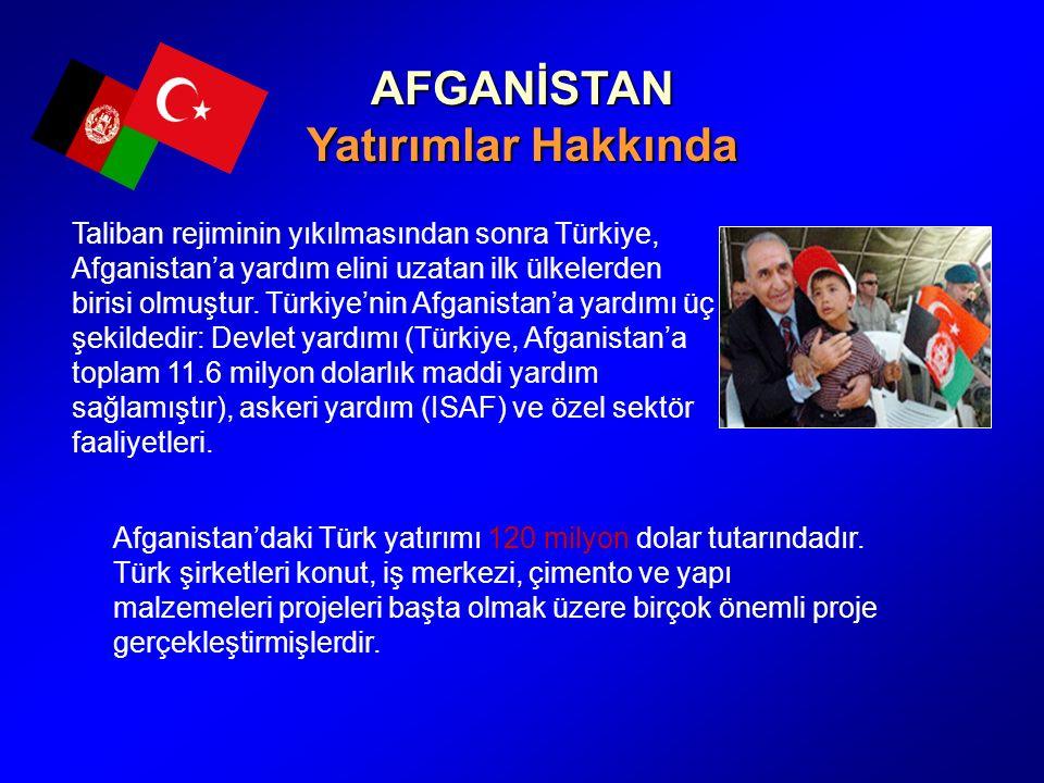 AFGANİSTAN Yatırımlar Hakkında Taliban rejiminin yıkılmasından sonra Türkiye, Afganistan'a yardım elini uzatan ilk ülkelerden birisi olmuştur.