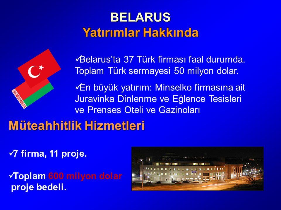 BELARUS Yatırımlar Hakkında Müteahhitlik Hizmetleri 7 firma, 11 proje.