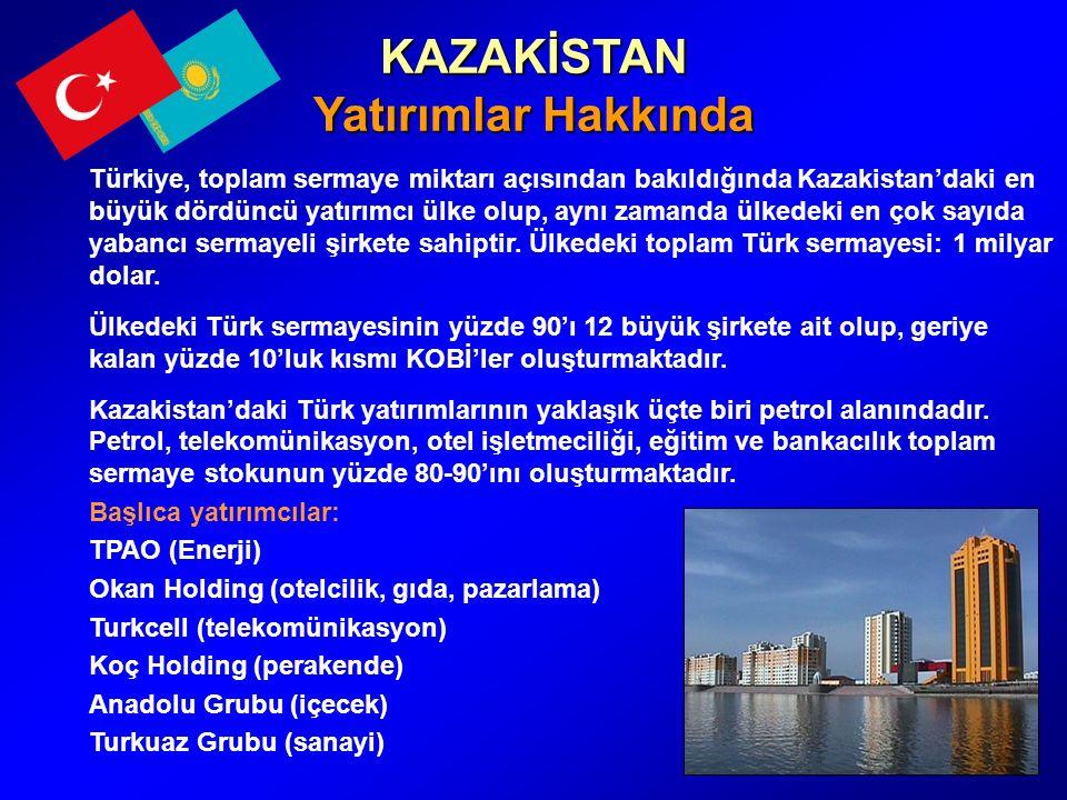 KAZAKİSTAN Yatırımlar Hakkında Türkiye, toplam sermaye miktarı açısından bakıldığında Kazakistan'daki en büyük dördüncü yatırımcı ülke olup, aynı zamanda ülkedeki en çok sayıda yabancı sermayeli şirkete sahiptir.