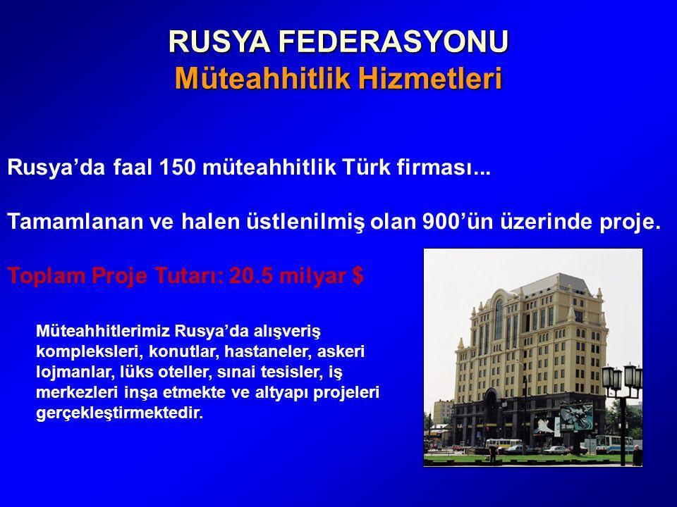 RUSYA FEDERASYONU Müteahhitlik Hizmetleri Rusya'da faal 150 müteahhitlik Türk firması...