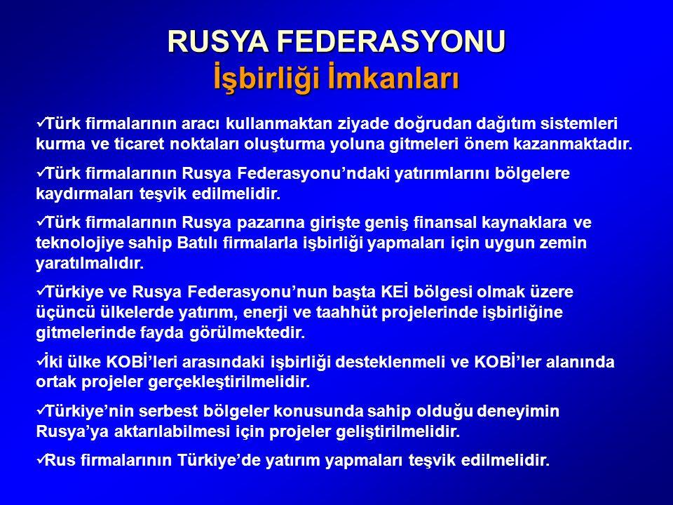 RUSYA FEDERASYONU İşbirliği İmkanları Türk firmalarının aracı kullanmaktan ziyade doğrudan dağıtım sistemleri kurma ve ticaret noktaları oluşturma yoluna gitmeleri önem kazanmaktadır.