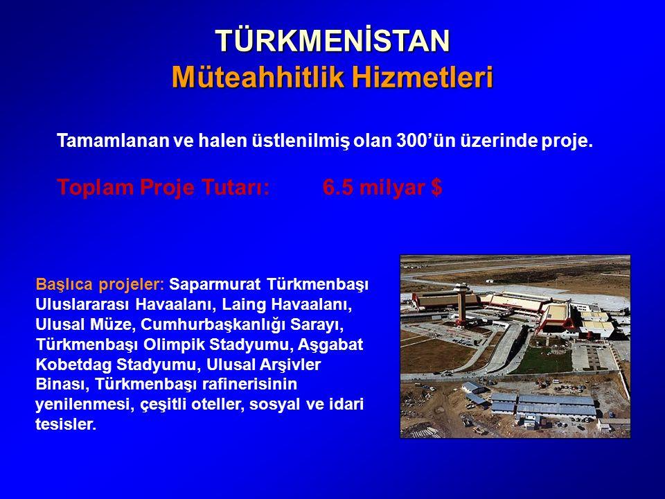 TÜRKMENİSTAN Müteahhitlik Hizmetleri Tamamlanan ve halen üstlenilmiş olan 300'ün üzerinde proje.