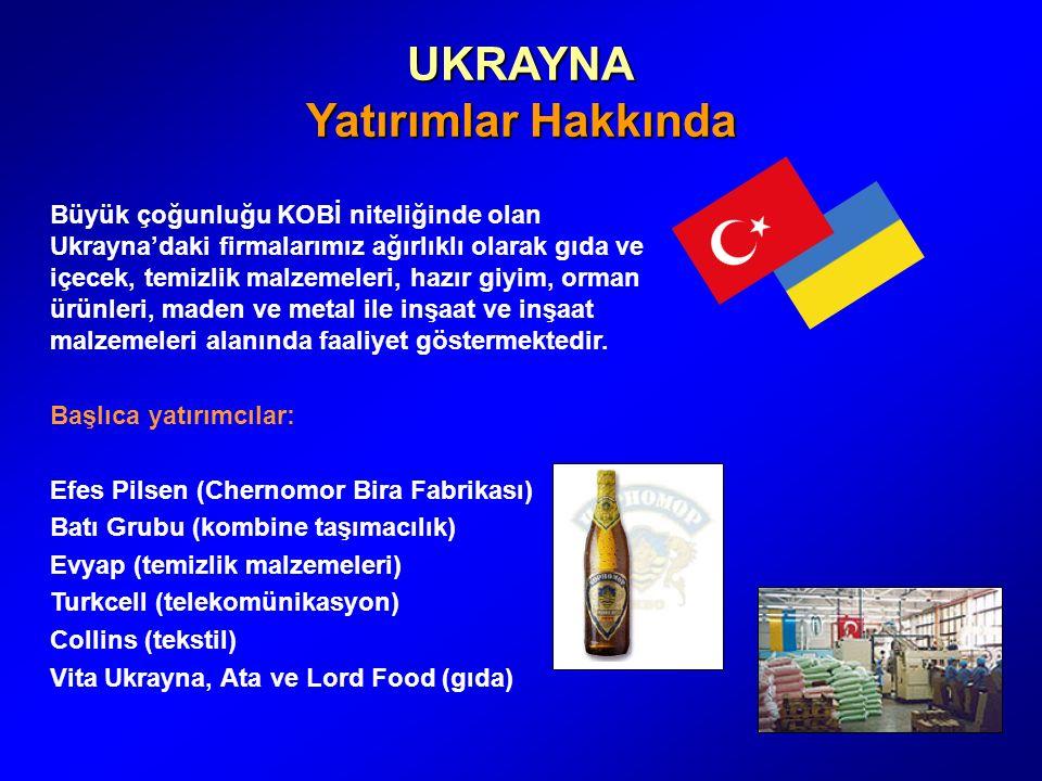 UKRAYNA Yatırımlar Hakkında Büyük çoğunluğu KOBİ niteliğinde olan Ukrayna'daki firmalarımız ağırlıklı olarak gıda ve içecek, temizlik malzemeleri, hazır giyim, orman ürünleri, maden ve metal ile inşaat ve inşaat malzemeleri alanında faaliyet göstermektedir.