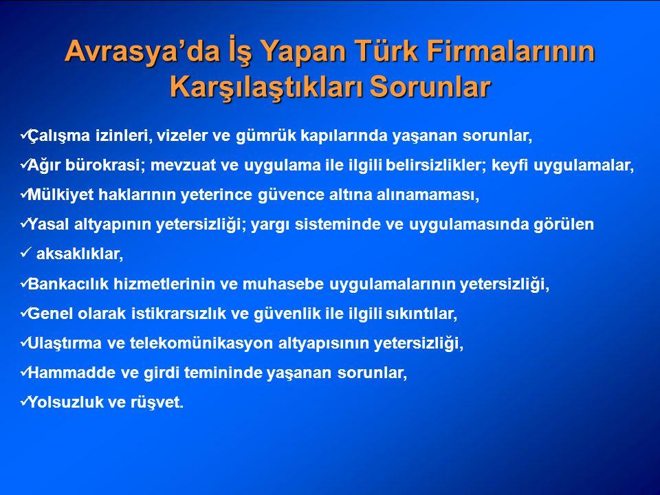 Avrasya'da İş Yapan Türk Firmalarının Karşılaştıkları Sorunlar Çalışma izinleri, vizeler ve gümrük kapılarında yaşanan sorunlar, Ağır bürokrasi; mevzuat ve uygulama ile ilgili belirsizlikler; keyfi uygulamalar, Mülkiyet haklarının yeterince güvence altına alınamaması, Yasal altyapının yetersizliği; yargı sisteminde ve uygulamasında görülen aksaklıklar, Bankacılık hizmetlerinin ve muhasebe uygulamalarının yetersizliği, Genel olarak istikrarsızlık ve güvenlik ile ilgili sıkıntılar, Ulaştırma ve telekomünikasyon altyapısının yetersizliği, Hammadde ve girdi temininde yaşanan sorunlar, Yolsuzluk ve rüşvet.