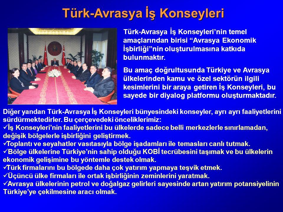 Türk-Avrasya İş Konseyleri Türk-Avrasya İş Konseyleri Türk-Avrasya İş Konseyleri'nin temel amaçlarından birisi Avrasya Ekonomik İşbirliği nin oluşturulmasına katkıda bulunmaktır.