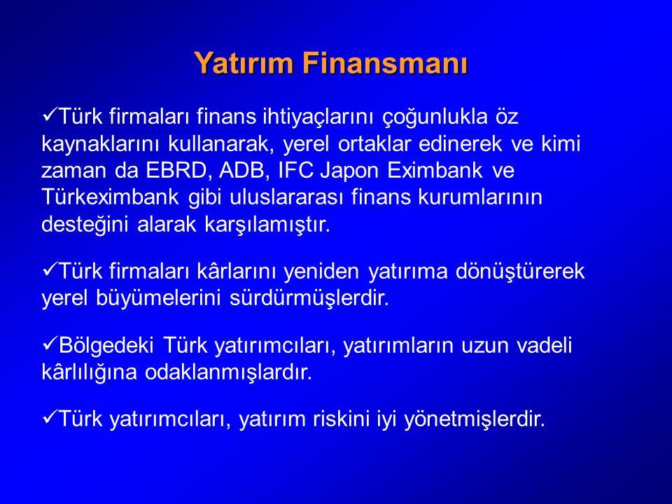 Yatırım Finansmanı Türk firmaları finans ihtiyaçlarını çoğunlukla öz kaynaklarını kullanarak, yerel ortaklar edinerek ve kimi zaman da EBRD, ADB, IFC Japon Eximbank ve Türkeximbank gibi uluslararası finans kurumlarının desteğini alarak karşılamıştır.