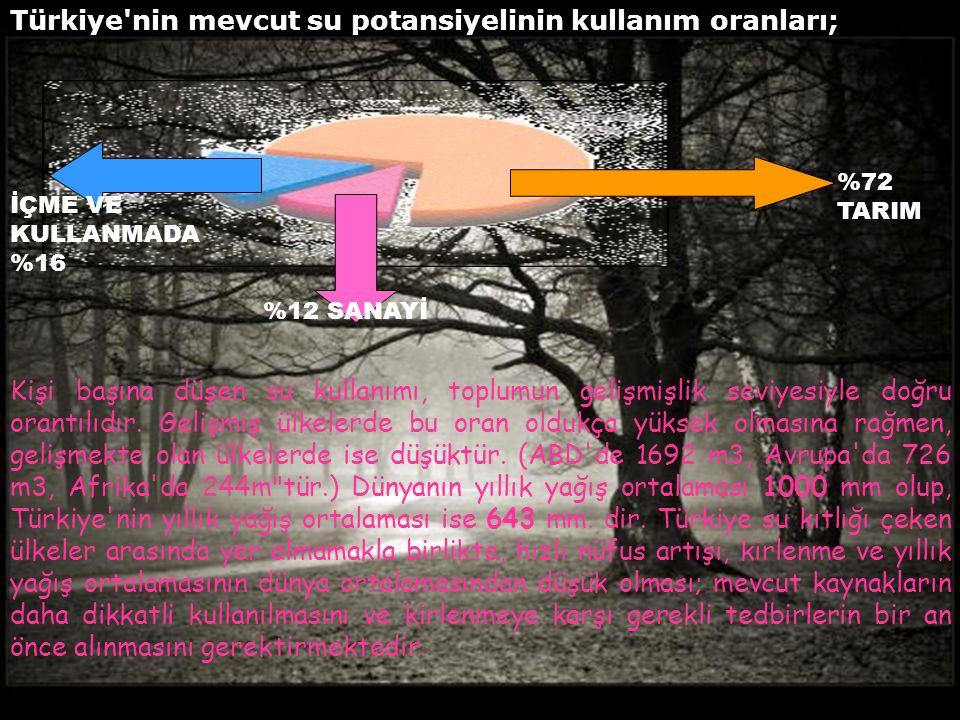 Türkiye nin mevcut su potansiyelinin kullanım oranları; İÇME VE KULLANMADA %16 %12 SANAYİ %72 TARIM Kişi başına düşen su kullanımı, toplumun gelişmişlik seviyesiyle doğru orantılıdır.