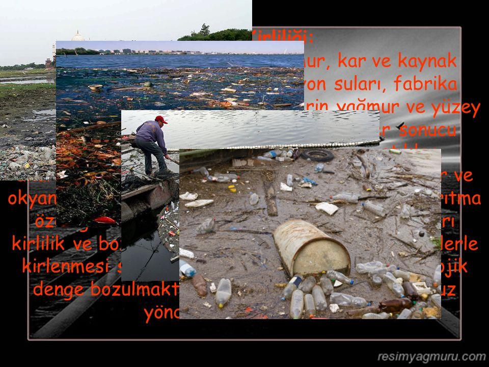 Akarsu Kirliliği: Akarsular; küçük dereler, yağmur, kar ve kaynak sularıyla beslenirler. Kanalizasyon suları, fabrika atıkları ile havayı kirleten etk