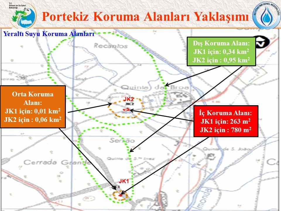 Portekiz Koruma Alanları Yaklaşımı 12 İç Koruma Alanı: JK1 için: 263 m 2 JK2 için : 780 m 2 Dış Koruma Alanı: JK1 için: 0,34 km 2 JK2 için : 0,95 km 2